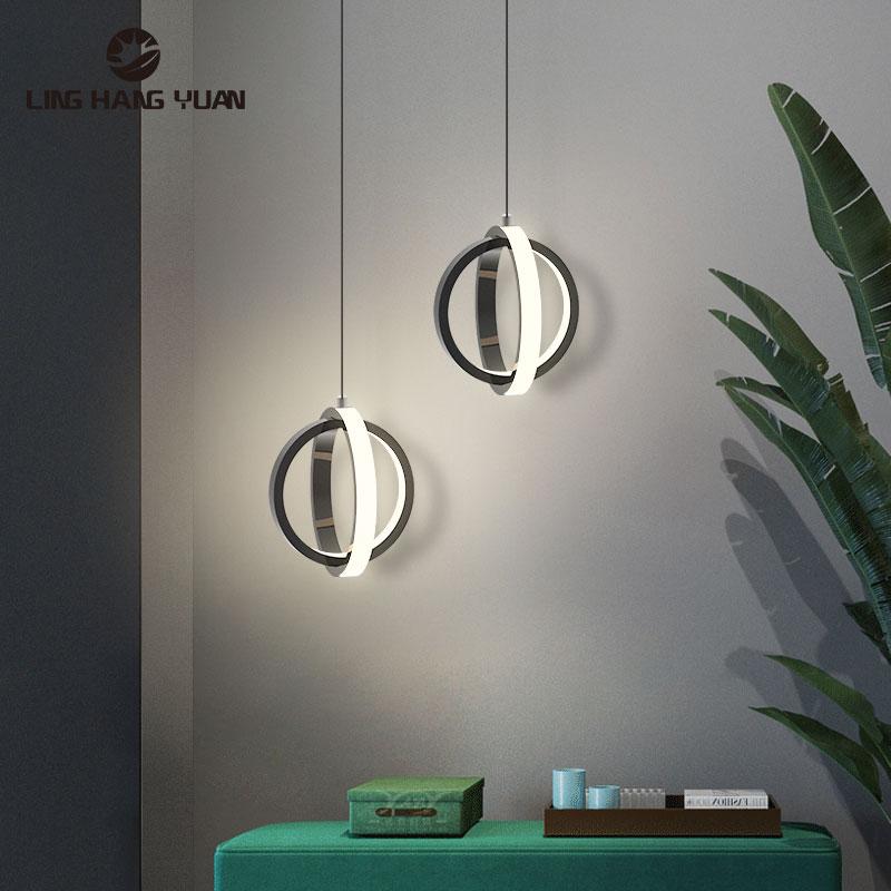 Современный светодиодный подвесной светильник 12 Вт, черно-белый подвесной светильник для фойе, гостиной, спальни, прикроватный светильник, ...