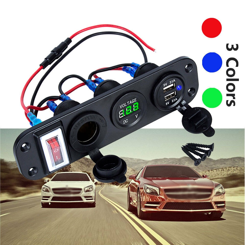 Гнездо для автомобильного прикуривателя с разъемом 12V Dual USB Автомобильное зарядное устройство Зарядное устройство Мощность адаптер выход д...