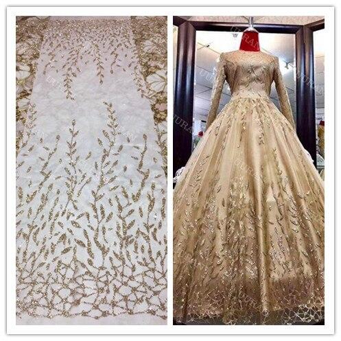 Tela de malla brillante, decoración de escenario de baile, tela de encaje de red de tul africano para fiesta, tela de costura Sari India, tejidos