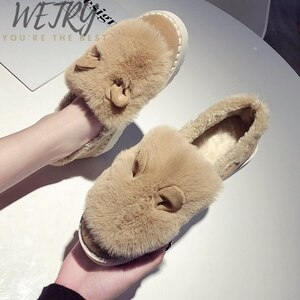 Women Boots Brand Winter Shoes Warm Black Round Toe Casual Plus Size Female Snow Boots Cotton Slippers Cute Fluffy Home Warm
