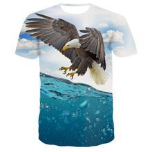 2019 Summer Men's Brand Clothing O-Neck Short Sleeve Animal T-shirt 3D Digital Eagle Printed T shirt Homme Large Size 6XL