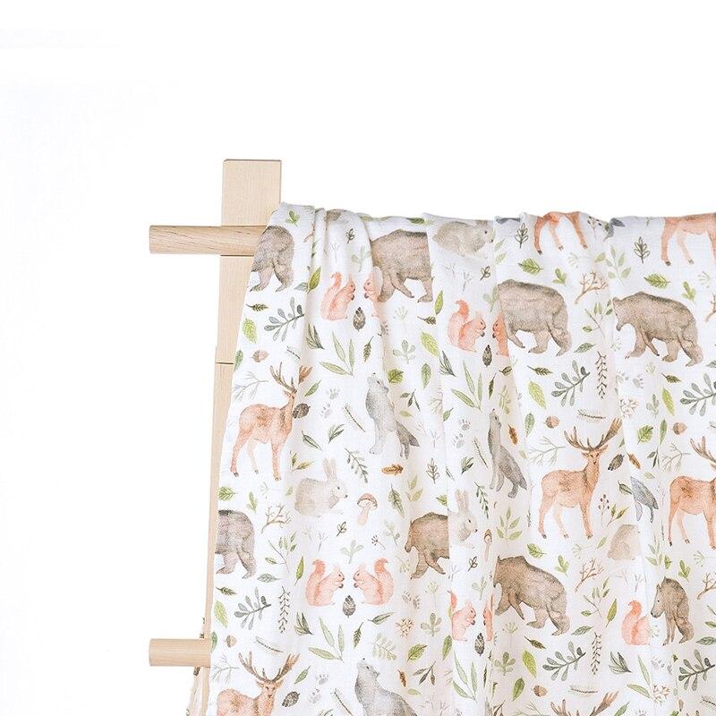 Newborn Baby Muslin Swaddle Blankets Digital Printing Bamboo Cotton Gauze Quilt Organic Bamboo Baby Bath Towels
