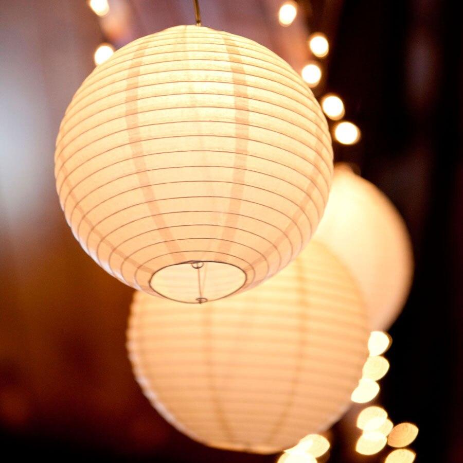 10 unids/lote (6, 8, 10, 12, 14, 16 pulgadas) luces LED blancas cálidas, lámparas de papel chinas para decoración para fiesta de boda