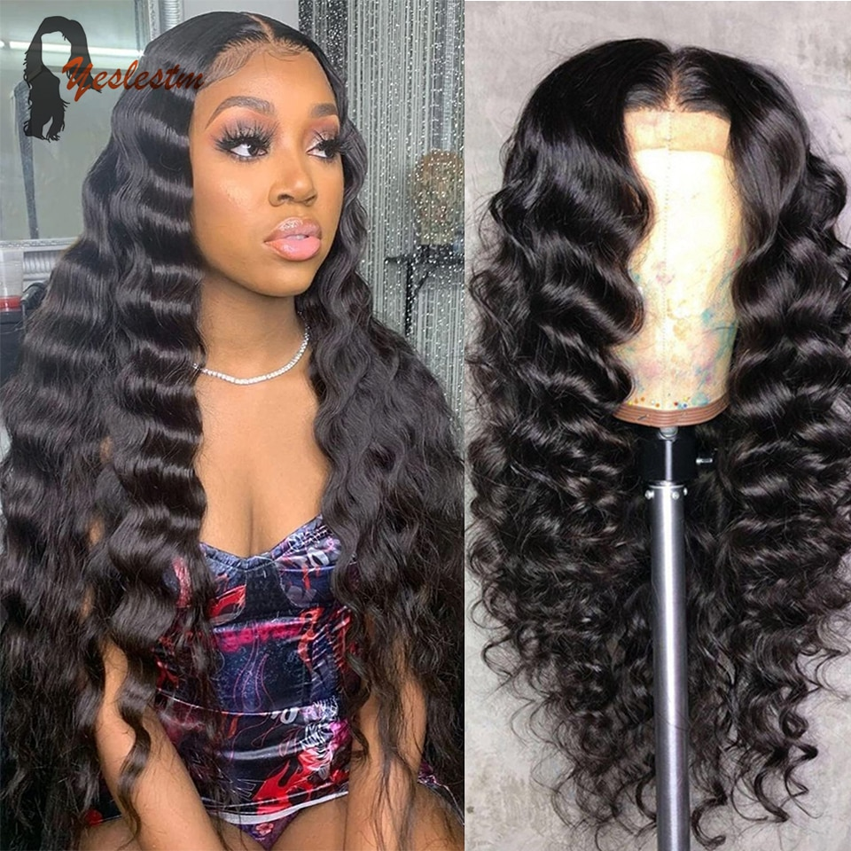 Yeslestm Loose Deep Wave Lace Front Wigs Human Hair Lace Wigs Brazilian Remy Hair Deep Curly Lace Fr