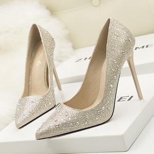 Fashionable Sweet Elegant High Heels Shoes Shallow Mouth Thin Skinny Pointed Rhinestone Wedding Shoes Womens Shoes