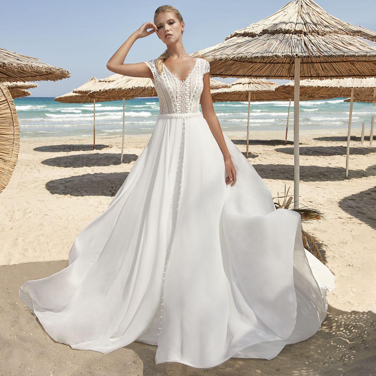 Promo Cap Sleeves V Neck Chiffon Boho Wedding Bride Dress 2021 Open Back Lace Beach Bridesmaid Bridal Gown Plus Size Free Shipping