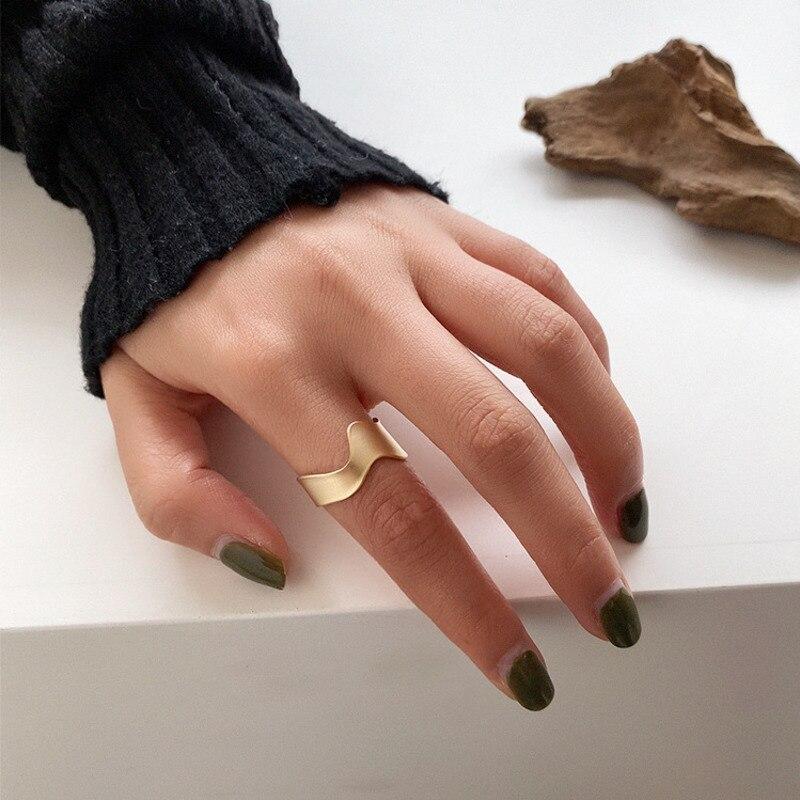 Ajustable tamaño de color de plata los dedos pulgar anillo de apertura joyería Unisex Top calidad única suave geométrica anillo de sello