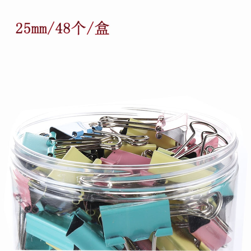 48pcs/box Assorted Candy Color Binder Clips for Book School Office Supplies Office Stationery Binding Supplies