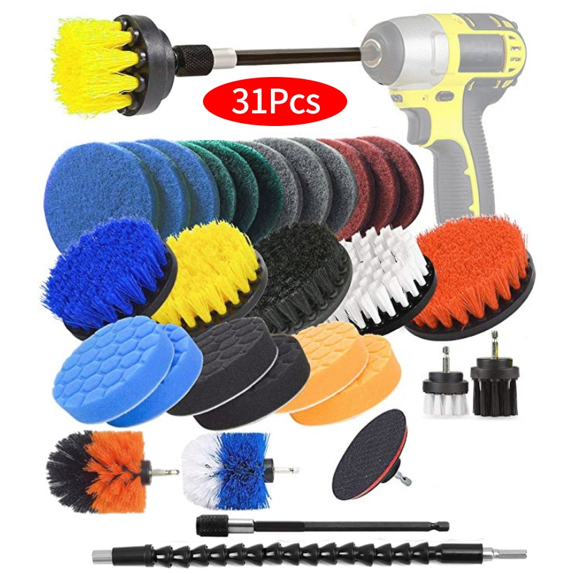 Electric Drill Brush Set, Scrub Pads & Sponge, Power Scrubber Brush Cleaning Kit with Scrub Pads & Drill bit Extender