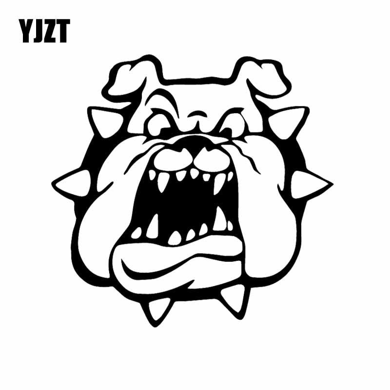 YJZT 14X13,5 CM perro Toro de aspecto enojado con Collar tachonado vinilo calcomanía decoración coche pegatina negro/plata c24-1564