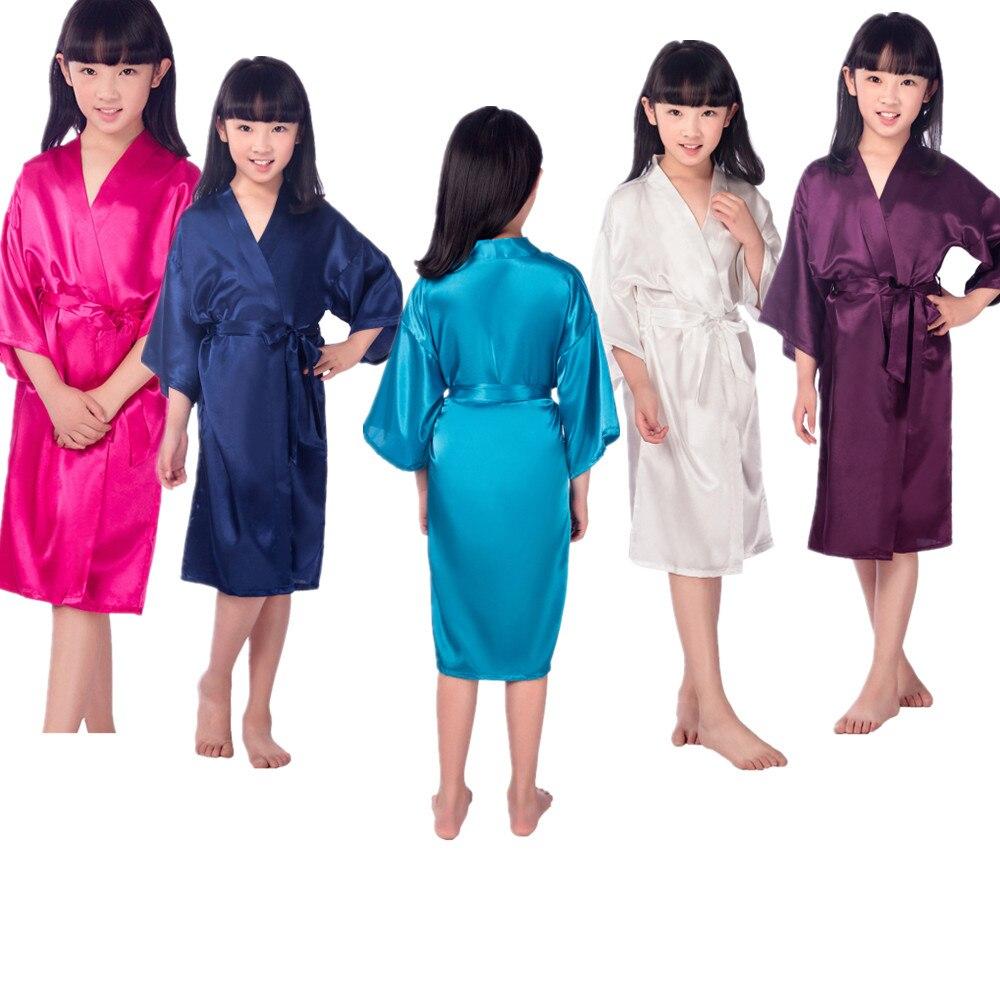 Wholesale Girls Solid Silk Satin Kimono Robes Kids Children Bathrobe Sleepwear Bath Nightgown for Wedding Spa Party Birthday