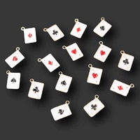 20pcs mini enamel four colors playing carda pendant pop earrings bracelet accessories diy charms jewelry crafts making 1411mm