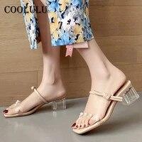 coolulu transparent slides high heel women shoes crysral chunky heel slippers preal square toe sandals ladies footwear summer 43