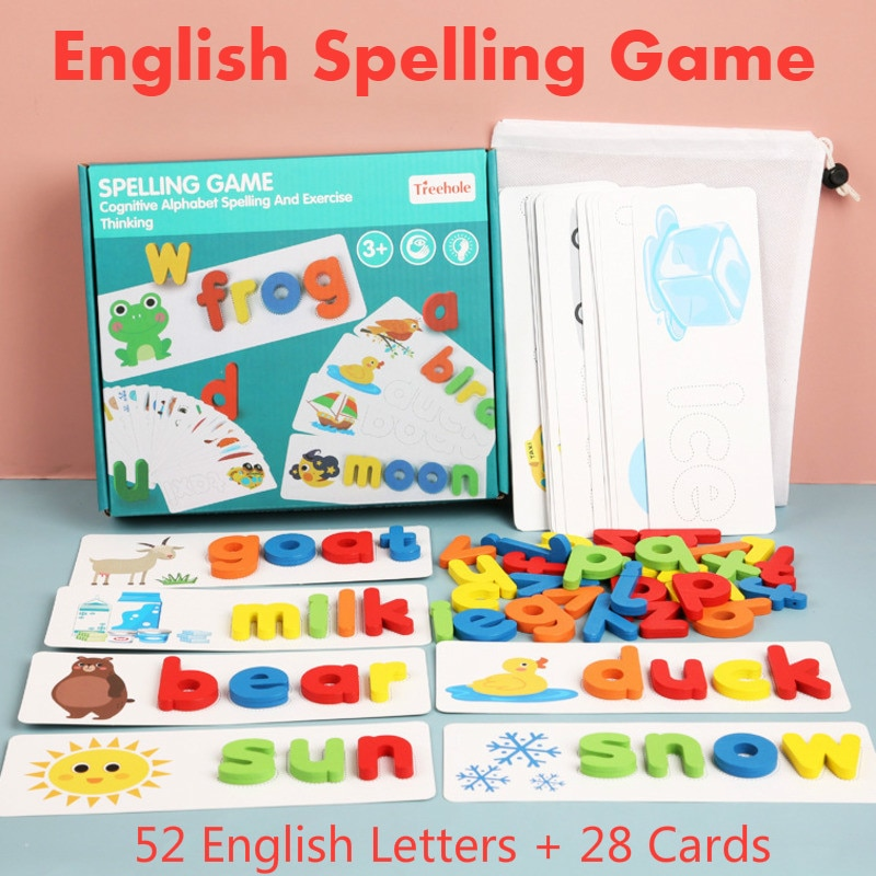 English Spell Words Montessori Toys For Kids Math Arithmetic Early Learning Educational Toys For Children Wooden Montessori Game topological game tower of hanoi iq intelligence developer 3d puzzle natural wood math game montessori montessori toys children s toys educational toys children toys montessori toys for children fidget toys