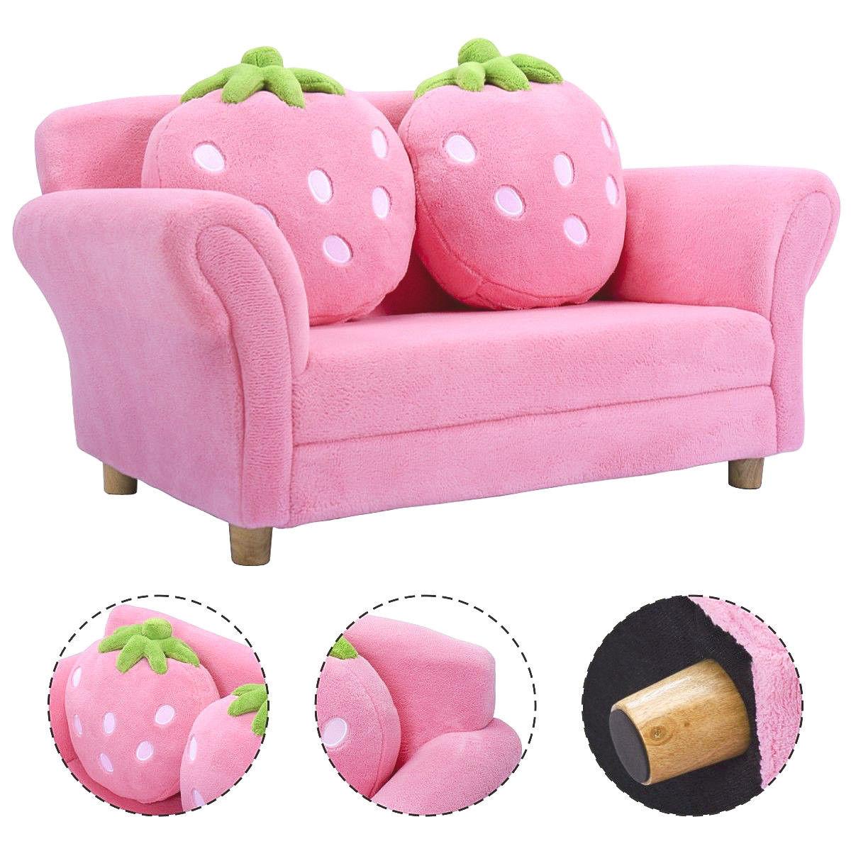 Costway الاطفال أريكة الفراولة مسند ذراع كرسي صالة الأريكة w/2 وسادة الأطفال طفل الوردي