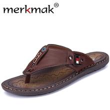 Merkmak Neue Marke Männer Hausschuhe Sommer Strand Schuhe Männer Flip-Flops Hohe Qualität Casual Sandale Leder Slip-On Atmungsaktive alias