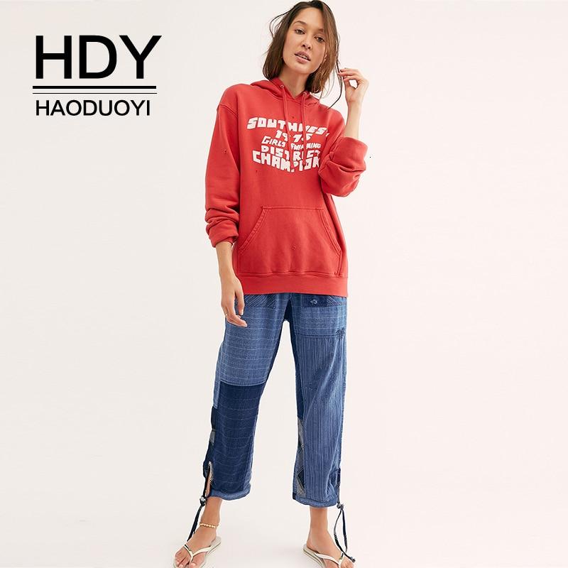 HDY Haoduoyi 2019 nueva moda deportiva Casual Plaid con capucha Kangaroo Pocket Pullover suelto sólido estampado manga larga sudadera