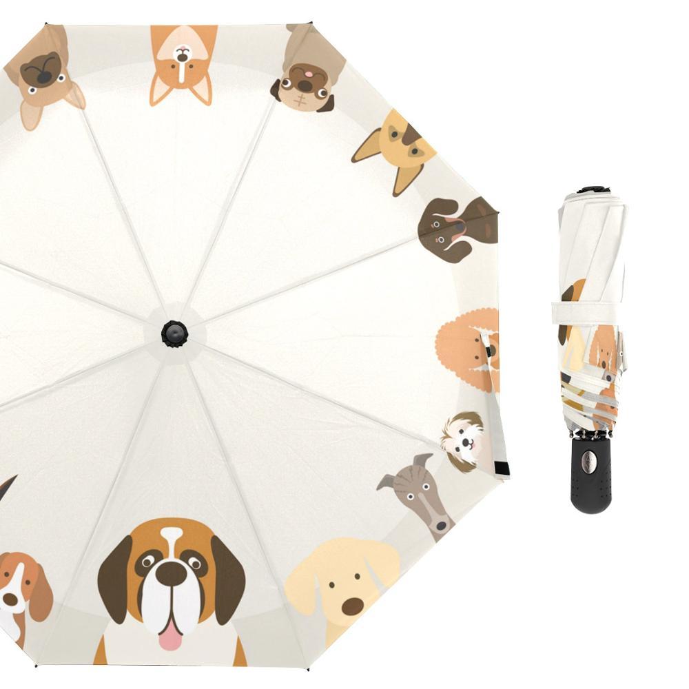 Paraguas de lluvia familia perro paraguas plegable de animales para mujer paraguas de Golf a prueba de viento personalizado para Chico 8 Ribs