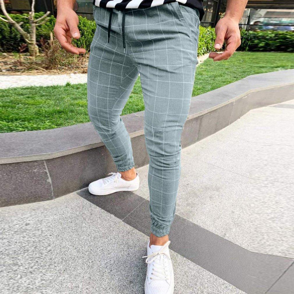 Men´s Sport Pants Gym Long Trousers Plaid Tracksuit Fitness Workout Joggers Sweat Track Casual Sweatpants