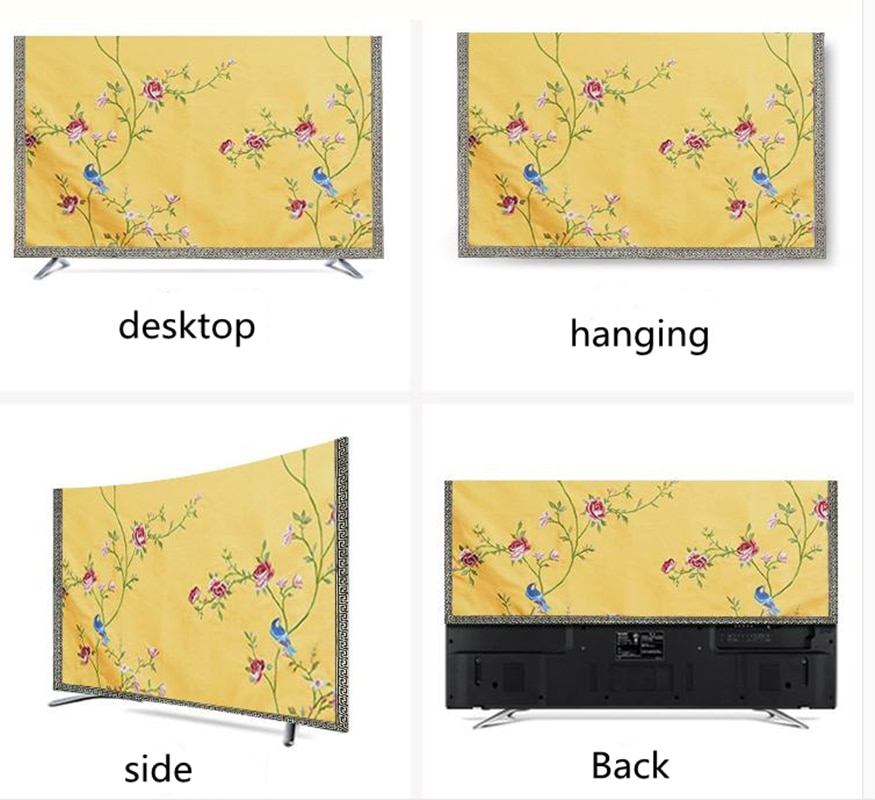 Custom Embroidery Peony Flower LCD TV Set Dustproof Cover Cloth Hanging Desktop TV Chinese Cotton Linen Dust Protection Cover enlarge