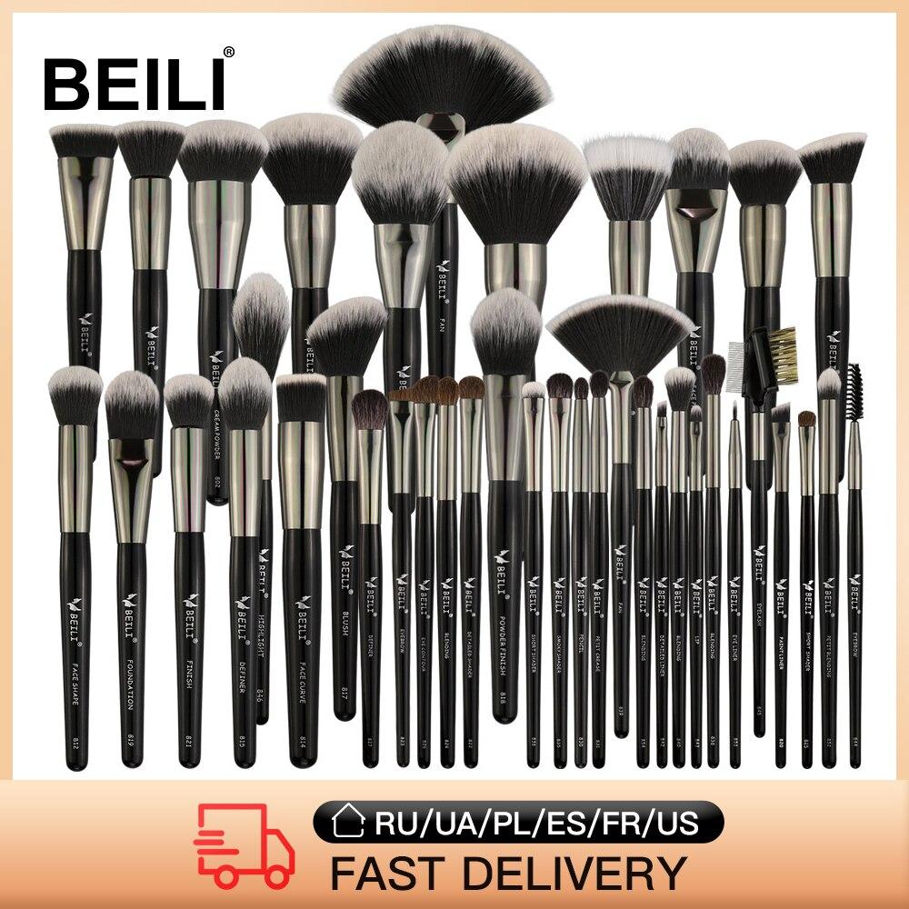 BEILI 40/35/15 Pieces Luxury Black Professional Makeup Brush Set Big Brushes Powder Foundation Blend