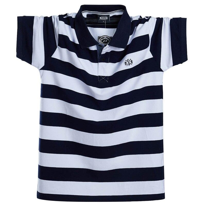 Gersri, Polo a rayas para hombre, camisa de manga corta de algodón holgada, camiseta informal de gran tamaño de otoño-verano para hombre