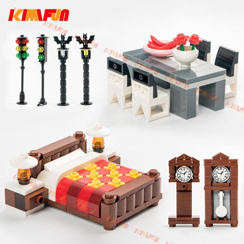 Городские аксессуары MOC уличный светофор часы кирпичи сделай сам стол кровать стол строительные блоки мебель игрушки для детей