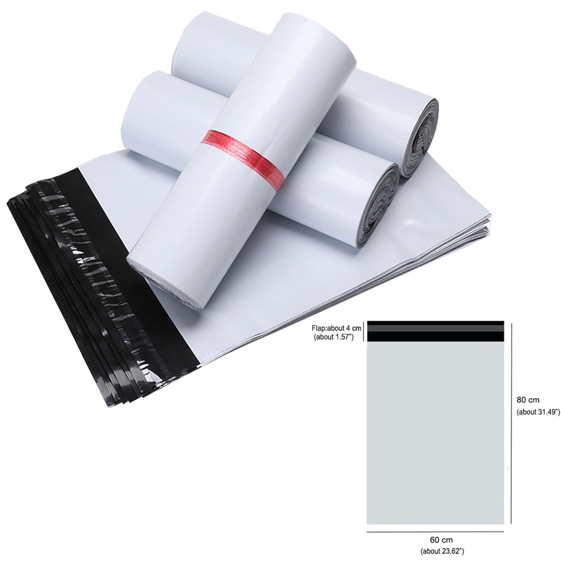 60X80cm Courier Bag 25/50/100pcs Self-seal Mailbag Plastic Poly Mailing Envelope Waterproof Postal Shipping Storage Bags White