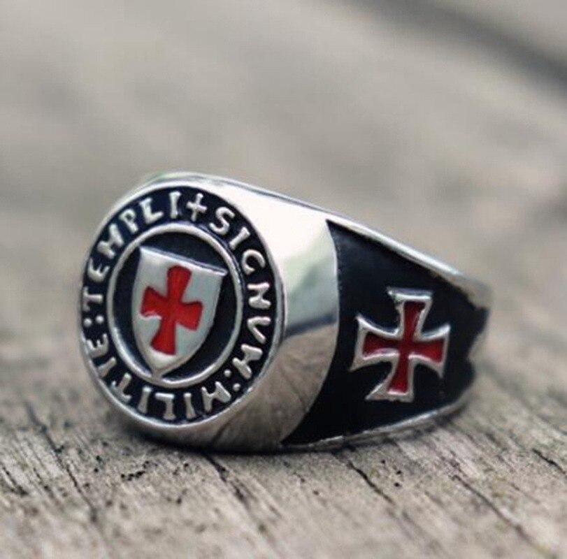 Retro estilo religioso templar cruz de alta qualidade metal maçônico anel clássico masculino punk casual jóias