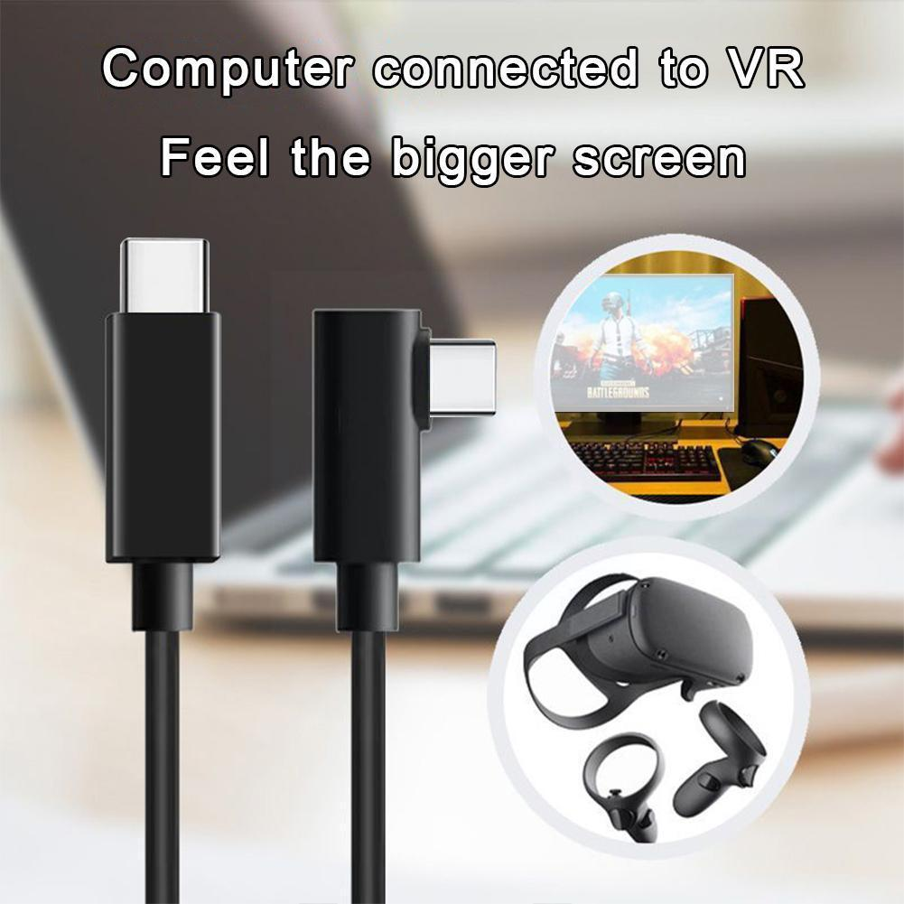 For Quest VR Data Cable USB3.2 10G 3A 60W Fast Charge VR Elbow Optic Type- Line Fiber C Headset Accessories Cable J9A1 enlarge
