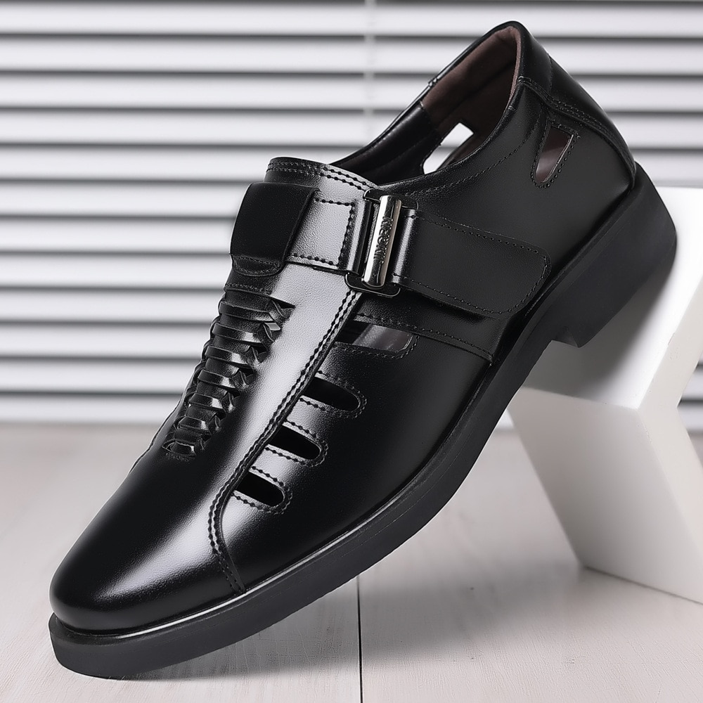 New Men Leather Shoes Breathable Business Dress Men Shoes Loafers Leather Casual Shoes Summer Plus S