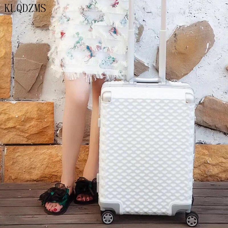 KLQDZMS 20/24/29 дюймов, Высококачественная 100% алюминиевая рама, вращающаяся сумка для багажа, роскошные дорожные сумки, колесики для чемоданов на ...