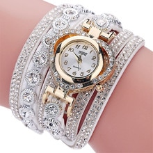 CCQ Vintage Rhinestone Dial Analog Quartz Watch Fashion Bracelet Wristwatch Montre Femme Relogio Fem