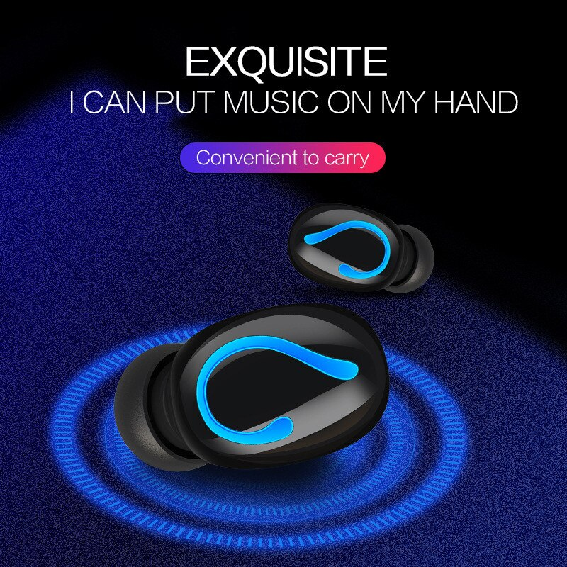 Auriculares Bluetooth 5,0 TWS inalámbricos, Auriculares Bluetooth, Auriculares deportivos manos libres, auriculares para juegos con batería externa de 1500mAh