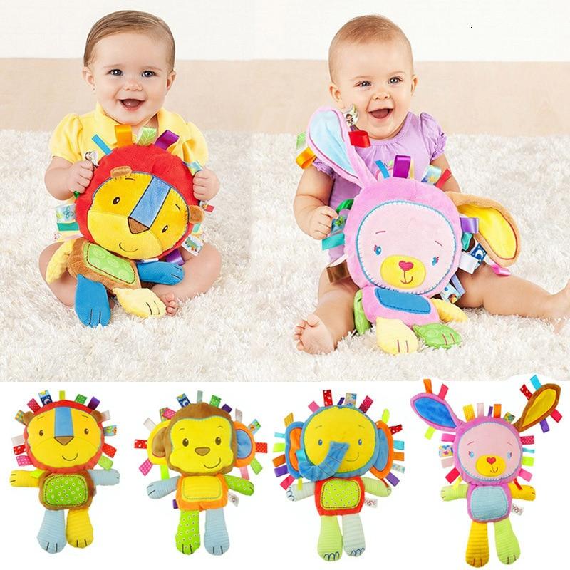 Cartoon Baby Plush Rattles Toys Appease Doll Infant Hand Bells Elephant/Monkey/Rabbit Animal Soft Co