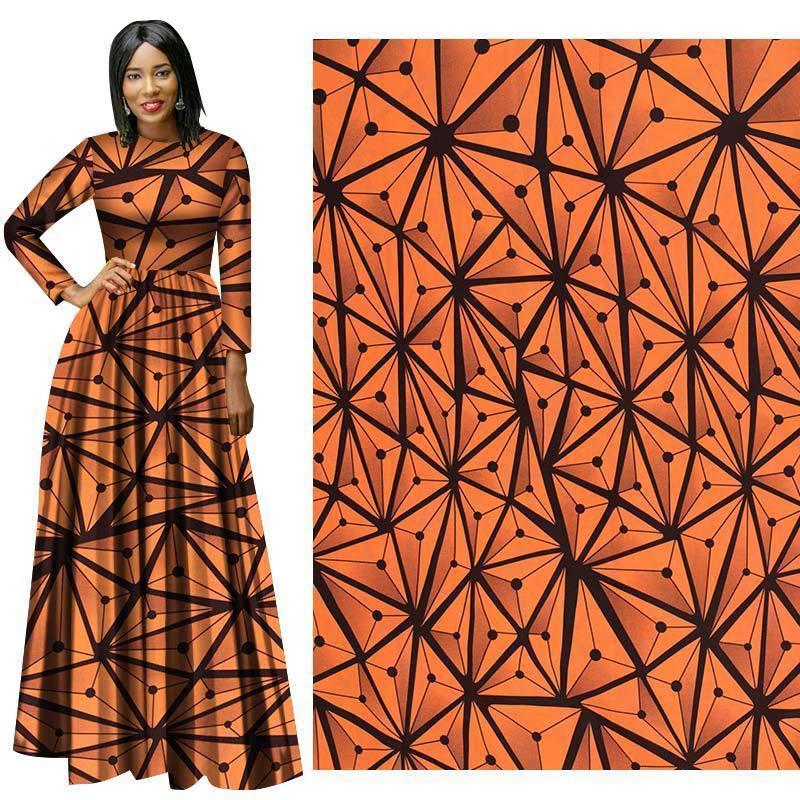 Laranja africano impresso tecido de cera vertical, cera nigeriano de algodão real para festa de casamento