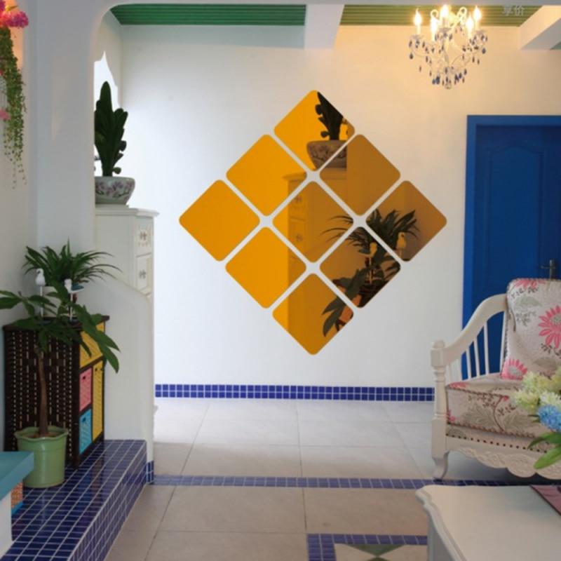 6 uds, 15x15cm, adhesivo para pared de Mirrow, películas adhesivas para muebles, decoración cuadrada para el hogar, pegatinas creativas de papel de aluminio para espejo a la moda para pared