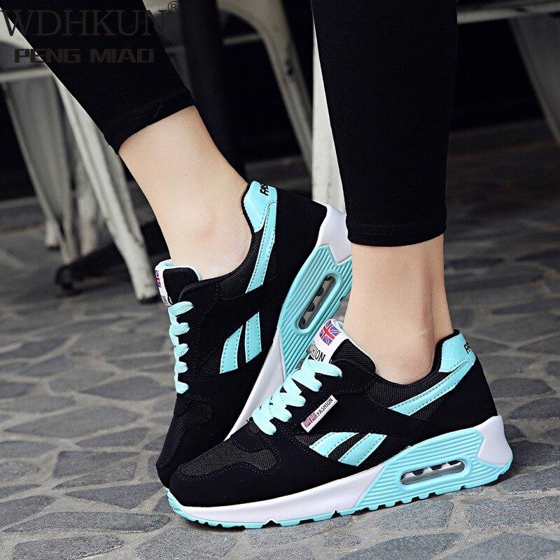 WDHKUN Women Air Cushion Sports Shoes Outdoor Running Lace Up Ladies Shoes Woman Sneakers Tenis Feminino Casual Flats SE636