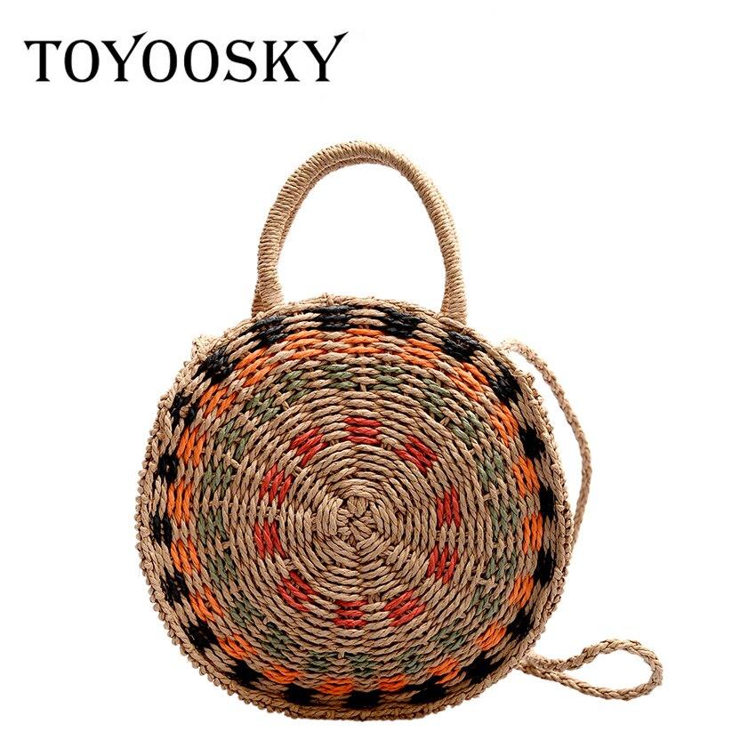 TOYOOSKY décontracté rotin femmes sacs à bandoulière cercle paille sacs à main grande capacité été Totes dame ronde bohème plage sac de voyage