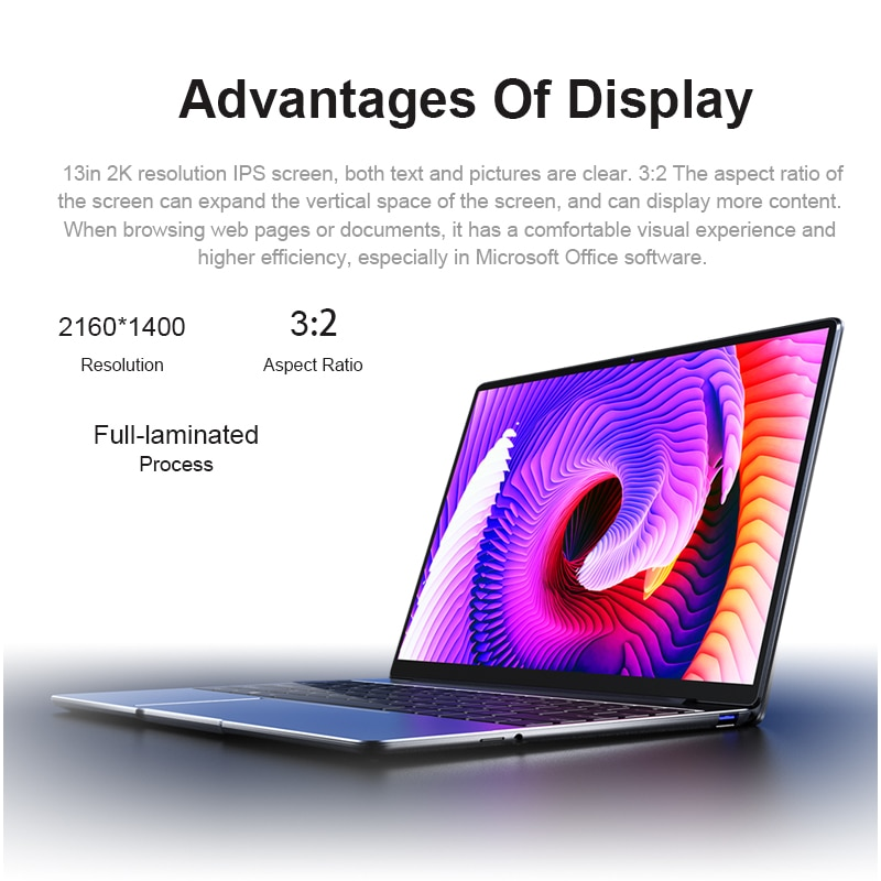 CHUWI CoreBook Pro 13inch Laptop Intel Core i3-6157U Dual Core 8GB RAM 256GB SSD  BT4.2 Windows 10 computer  Backlit keyboard