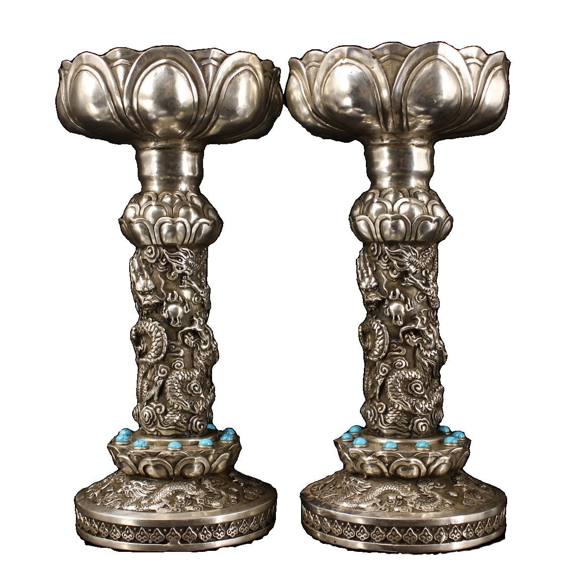 Laojunlu زوج من النحاس النقي ، كل اليدوية ، جوهرة مجموعة ، مذهب الفضة ، التنين سحب الجداول العتيقة البرونزية تحفة