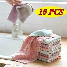10pcs panno da cucina in microfibra Super assorbente stoviglie ad alta efficienza asciugamano per la pulizia della casa utensili da cucina gadget