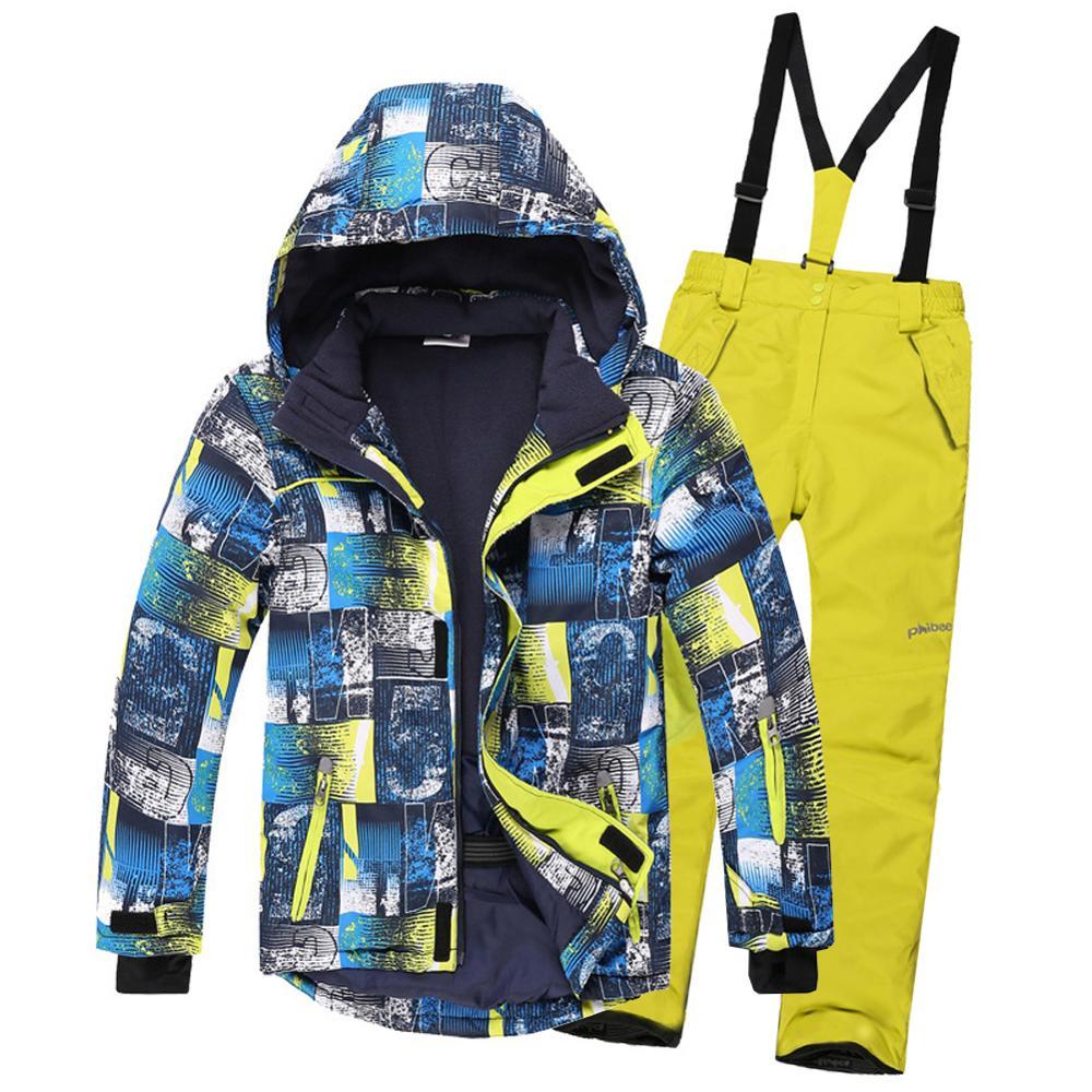 بدلة تزلج للأطفال, بدلة تزلج للأطفال مقاومة للماء للرياح دافئة للبنات والأولاد طقم ثلج مريلة السراويل الشتاء التزلج على الجليد سترة