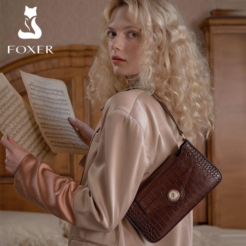 FOXER Vintage Cow Leather Women Shoulder Crescent Bag Fashion Elegant Lady Small Handbag Female Half Moon Bag Crossbody Purse