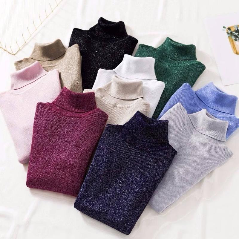 Shiny Lurex Winter Sweater Women Long Sleeve Pullover Slim Basic Sweater Turtleneck Korean Knit Solid Color Top