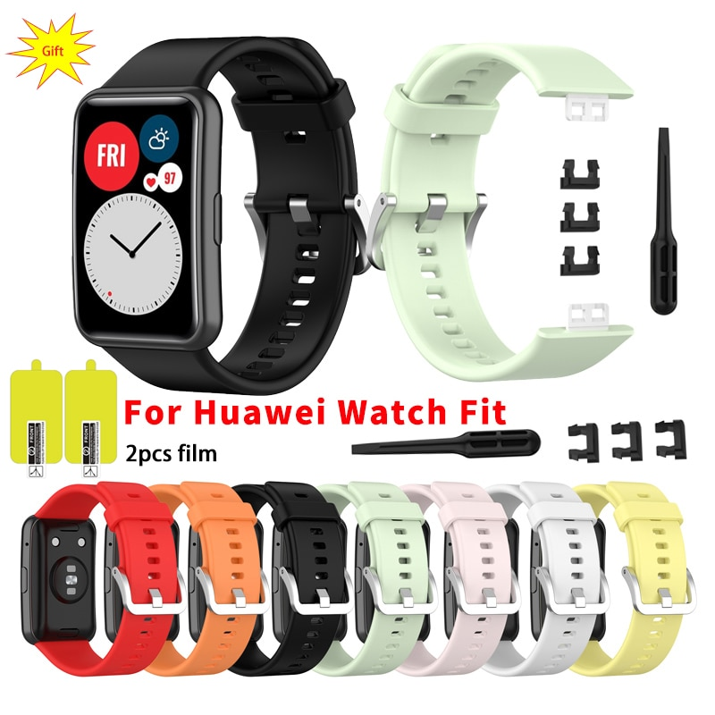 2020 Silicone Band For Huawei Watch Fit Strap Tool Watch Case Screen Protector Bracelet correa for h