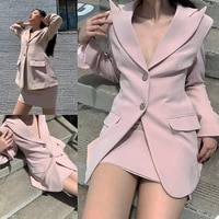 sexy pink women suits fashion designed peaked lapel pocket blazer mini skirt club party casual daily young girl 2 pieces set