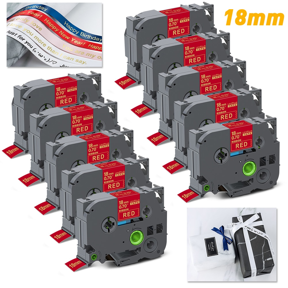 UniPlus 10PK Stain Ribbon 18mm tze Label Tape Compatible Brother TZe RW44 Printer Ribbon Gift Warping Rope for P Touch Labeller