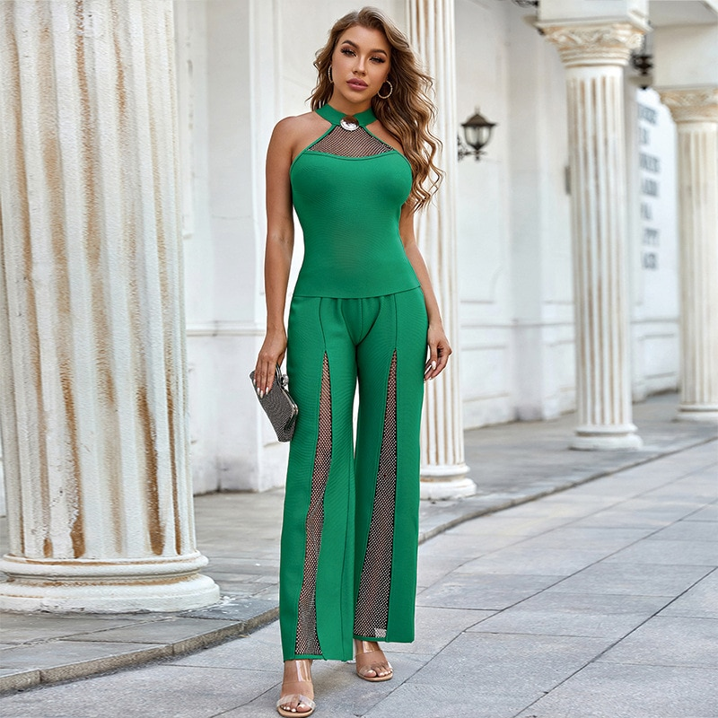 2021 Summer New Women Sexy Sleeveless Jumpsuit Fashion Green Mesh Halter & Long Pants Celebrity Party Outwear Rompers Jumpsuits