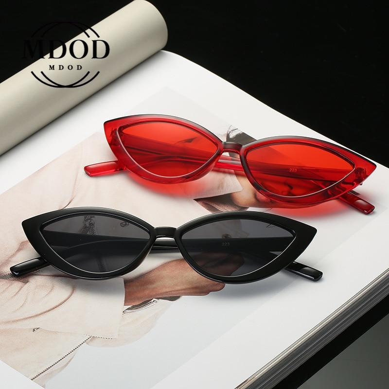 Retro Cateye Sunglasses Women Retro Small Black Transparent Black 2020 Triangle Vintage Cheap Sun Gl